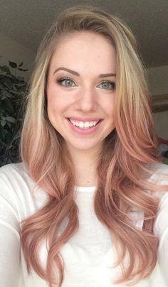Blonde hair with rose gold dip dye