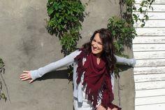 Tribull Unisex Scarf in Burgundy Ombre.  #tribull #tribullscarves #scarf #burgundy #ombre #love #winter #tribal