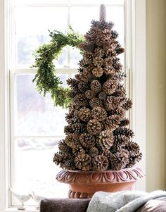 The Pink Porch: Crafty Christmas Trees - pinecone trees would be perfect for the front porch!