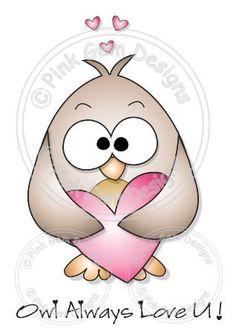 Digital Digi Love Heart Owl Stamp by PinkGemDesigns on Etsy, $2.70
