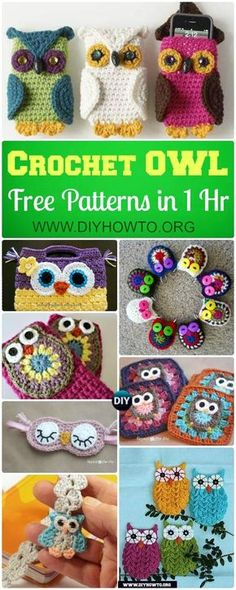 Basic crochet owl appliques to make coasters, purse, bags, keychains and more that we can finish in an hour. via @diyhowto