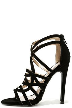 Black Nubuck Caged Heels//