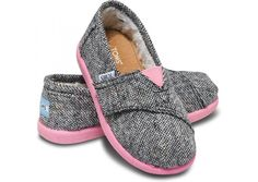 Silver Karsen Tiny TOMS with fleece lining!