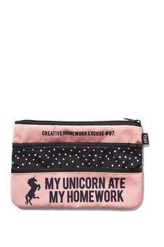 double archer pencil case, UNICORN QUOTE