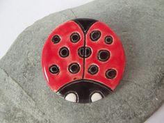 Ceramic Pottery Ladybird Brooch Ladybug Pin by RowanSongCrafts