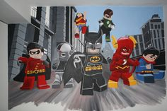 We LOVE LOVE LOVE this superhero lego mural on our playroom wall!