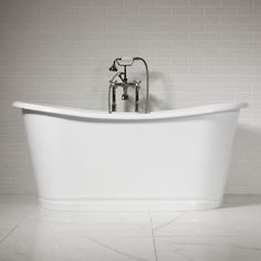'The Hurley' Cast Iron French Bateau Tub Package (Gloss Bright White Aluminum Skirt)