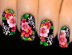 makeup beauty tips fashion style nail art braid styles Nail Stickers Midnight Pink FULL COVER SERIES Nail by EuStore Gel Nail Art Designs, Flower Nail Designs, Colorful Nail Designs, Rose Nails, Flower Nails, Food Nail Art, Mexican Nails, Karma Nails, Types Of Nails