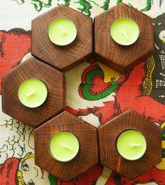 Oak wooden candlestick Tea Light Holders Rustic Wood от Endryu