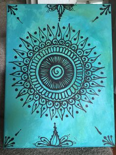 Items similar to Henna Canvas - Turquoise on Etsy Henna Canvas - Turquoise<br> Mandala Art, Mandalas Painting, Mandalas Drawing, Zentangles, Henna Canvas, Diy Canvas, Canvas Art, Canvas Paintings, Simple Paintings