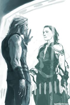 Thor and Loki standing outside opposite sides of the glass. Loki's outfit looks a little strange, but this picture is very descriptive.