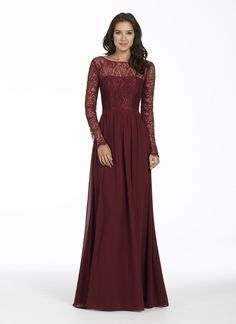 Style 5751 | Burgundy chiffon A-line bridesmaid gown, Burgundy lace bateau bodice with sheer lace sleeves, scoop back, natural waist, gathered skirt.