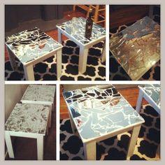 Broken glass on acryllic painted vintage table diy pinterest my diy mosaic mirror coffee tables solutioingenieria Images