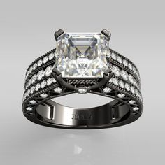 Asscher Cut 2.5CT Created White Sapphire Rhodium Plating 925 Sterling Silver Women's Ring