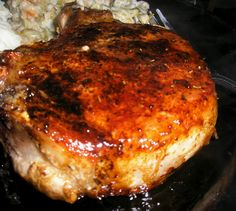 Twirl and Taste: Hatchie Bottom Chops - a skillet, a Coca-Cola, a pork chop, A Mouthwatering Meal