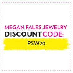 "From Nov. 22 to Jan. 10, enter ""PSW20"" at checkout for a site-wide discount. 20% meganfales.com/ #StyleHunters"