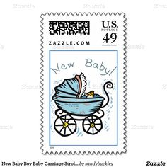 New Baby Boy Baby Carriage Stroller Announcement Postage Stamps