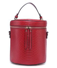 Another great find on #zulily! Red Snake-Embossed Adella Bucket Bag by Amore #zulilyfinds