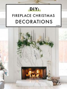 How To DIY Your Holiday Mantel How to DIY: Festive Christmas fireplace decorations. Diy Christmas Fireplace, Christmas Mantels, Christmas Home, Christmas Decorations, Christmas Ideas, Fireplace Ideas, Holiday Ideas, Christmas Crafts, Christmas Backdrops