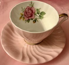 Pretty In Pink- Fine Bone China Swirled Teacup and Saucer