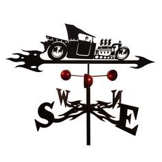 This unique styled weathevane features a steel construction of a hot rod on an flaming arrow. Color: Black Materials: Steel Style: Roof, garden, flat, side Weatherproof: Yes Garden dimensions: 60 inch