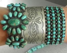 Fred Harvey Era Navajo 4-ROW Green/blue Turquoise Cuff Bracelet. Silver and turquoise bracelets