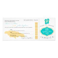 Boarding Pass to Jamaica Wedding Invitation