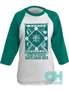 Alpha Phi Baseball Summer Date Dash // College Hill Custom Threads sorority and fraternity greek apparel and products! | @ch_threads | #baseballtee #aphi #social