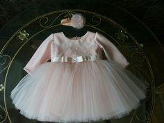 Платье цвета пыльной розы, р.3-6 мес.
