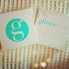 Glitter Guide's business cards. Aqua and gold foil letterpress... or use Sweeps for all your design needs! http://www.sweeps.jobs