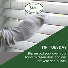 Venetian blinds pick up grime and dust easily and are tricky to clean. Aside from dusting regularly, you can also use an old sock to clean the between the slats. Mary Interior Decorator supplies and installs venetian blinds. Visit our Showroom at Shop 6A Illovo Square Shopping Centre or call 011 268 0329 / e-mail nikos@marysinteriors.co.za. #marysinteriors #blinds #venetianblinds #interiordesign #decor Shutters, Venetian, Showroom, Sock, Blinds, Centre, Interior Decorating, Mary, Cleaning