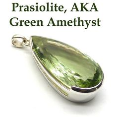 Prasiolite Pendant   925 Sterling Silver   AKA Green Amethyst   Natural Unheated   Massive Teardrop Faceted Jewel   Crystal Heart Melbourne Australia since 1986