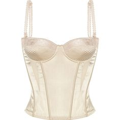 Stella McCartney Josephine Marrying satin corset (€93) ❤ liked on Polyvore featuring intimates, shapewear, tops, lingerie, corsets, underwear and cream