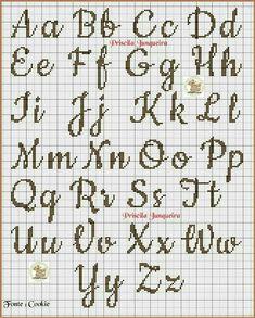 broderie - Page 2 - Cross Stitch Cross Stitch Letter Patterns, Monogram Cross Stitch, Cross Stitch Love, Cross Stitch Needles, Cross Stitch Charts, Cross Stitch Designs, Stitch Patterns, Loom Patterns, Alphabet Au Crochet