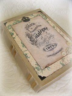 Handmade Keepsake Box Altered Treasure Box Book  Box by QueenBe