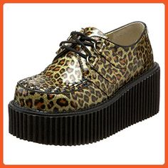 244f1f3d9ecf Womens Platform Creepers Gold Leopard Print Lace Up Shoes 3 In Platform  Glitter Size  9