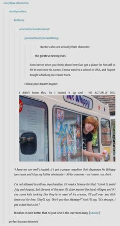 Perfect Human: Rupert Grint and his ice cream truck