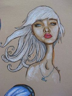 Colored pencil, china marker on toned paper