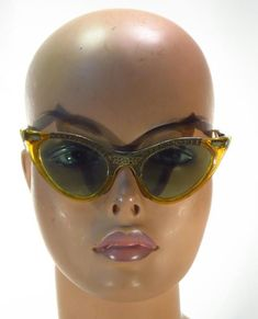 6375ca109bd Vintage Grantle Amber Repousse Cat Eyes Cats Eye Eyeglass Sunglass Frames     Unbranded