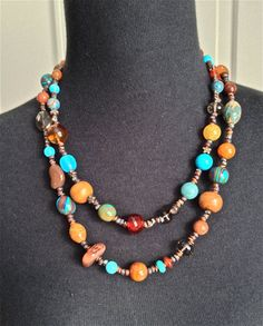 Beaded jewelry women jewelry necklace handmade southwest necklace boho beaded necklace - turquoise and amber necklace