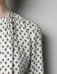 Zara Printed Blouse in White (off white)