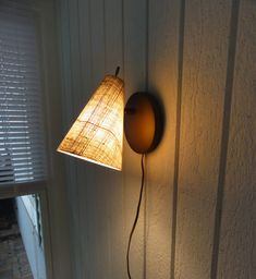 Mid-Century Modern Wall Sconce Lamp, Fiberglass Shade, Brass Switch, Brown, Atomic, Eames, Vintage Lighting by MeadowlarkNaturals on Etsy