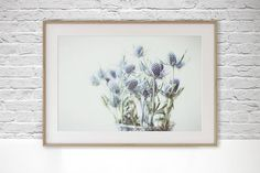 Blue Zen Digital Download Photo, Minimalist Photography, Floral Wall Art, Fine Art Photography, Hygge art, Sea Holly Printable download