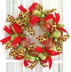 Deco mesh christmas slim screen door lime green red ribbon wreath holiday d Christmas Mesh Wreaths, Noel Christmas, Deco Mesh Wreaths, All Things Christmas, Christmas Ideas, Winter Wreaths, Whimsical Christmas, Holiday Ideas, Snowman Decorations
