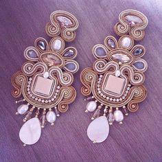 Monet's divagation by AdelsLaboratory on Etsy Black Earrings, Statement Earrings, Jewelry Accessories, Women Jewelry, Soutache Earrings, Wedding Earrings, Beaded Embroidery, Monet, Jewelry Supplies