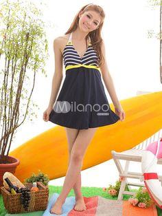 Dark Navy Stripe Lycra Spandex Women's Skirted Swimsuit - Milanoo.com