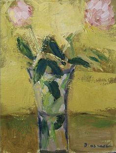 "Two Peonies, Oil 14"" x 11"", Stephen Dinsmore"