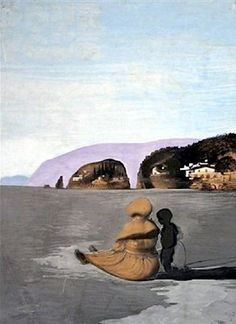 This painting, Adolescence, by Salvador Dalí, features the young Dalí with his beloved nurse, Lucia. Her head and back are also the nose and mouth that, combined with the eyes in the hills, complete the paranoiac-critical face. The face might be Gala, with whom Dalí was becoming more and more infatuated at that time. Dalí loved his nurse very much so there is a symbolic reason to use her figure as the completing elements of Gala's face. This painting was stolen at gunpoint from Scheringa…