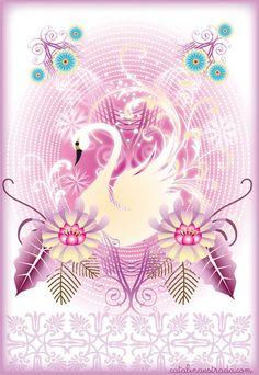 Catalina Estrada ~ Swan in Pink Arabesque, Fun Art, Cool Art, Make A Cartoon, Swan Lake, Cata, Retro Art, Diy Dollhouse, Great Artists