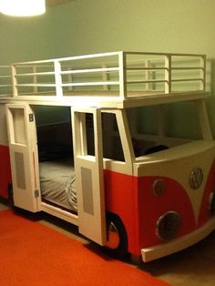 I built this for Dane, our 3 year old. VW Bus Bunk Bed